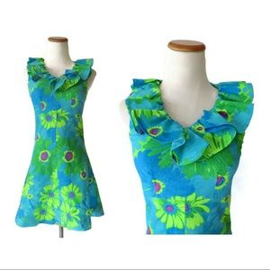 Vintage Mod Flower Power Mini Dress